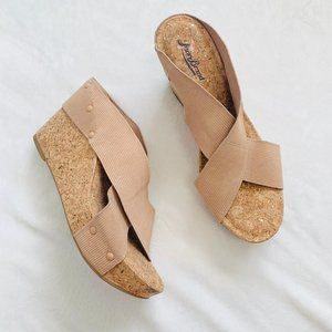Lucky Brand Strappy Miller Cork Wedges Rose Gold